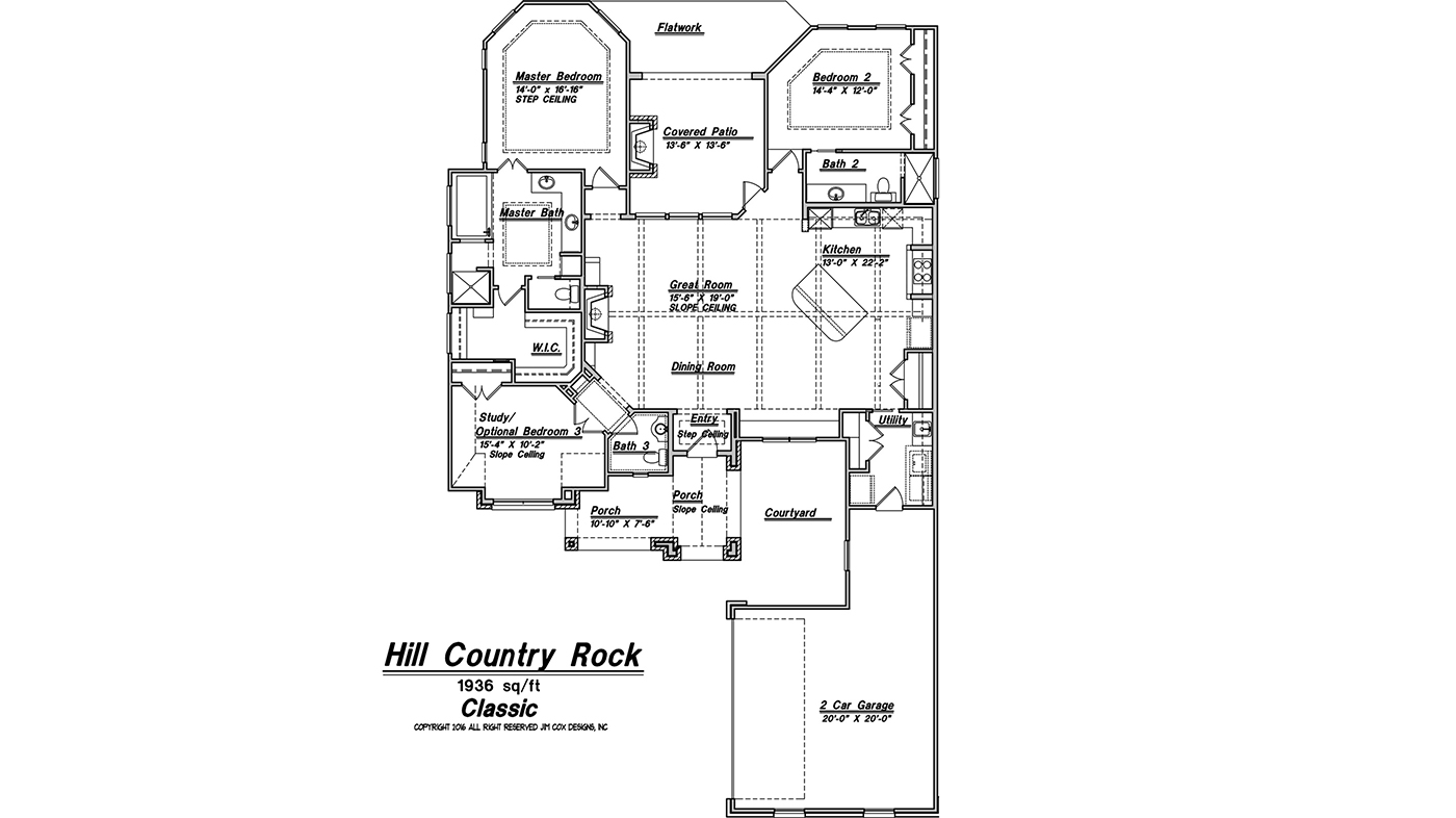 Custom plans jim cox designs for Hill country floor plans
