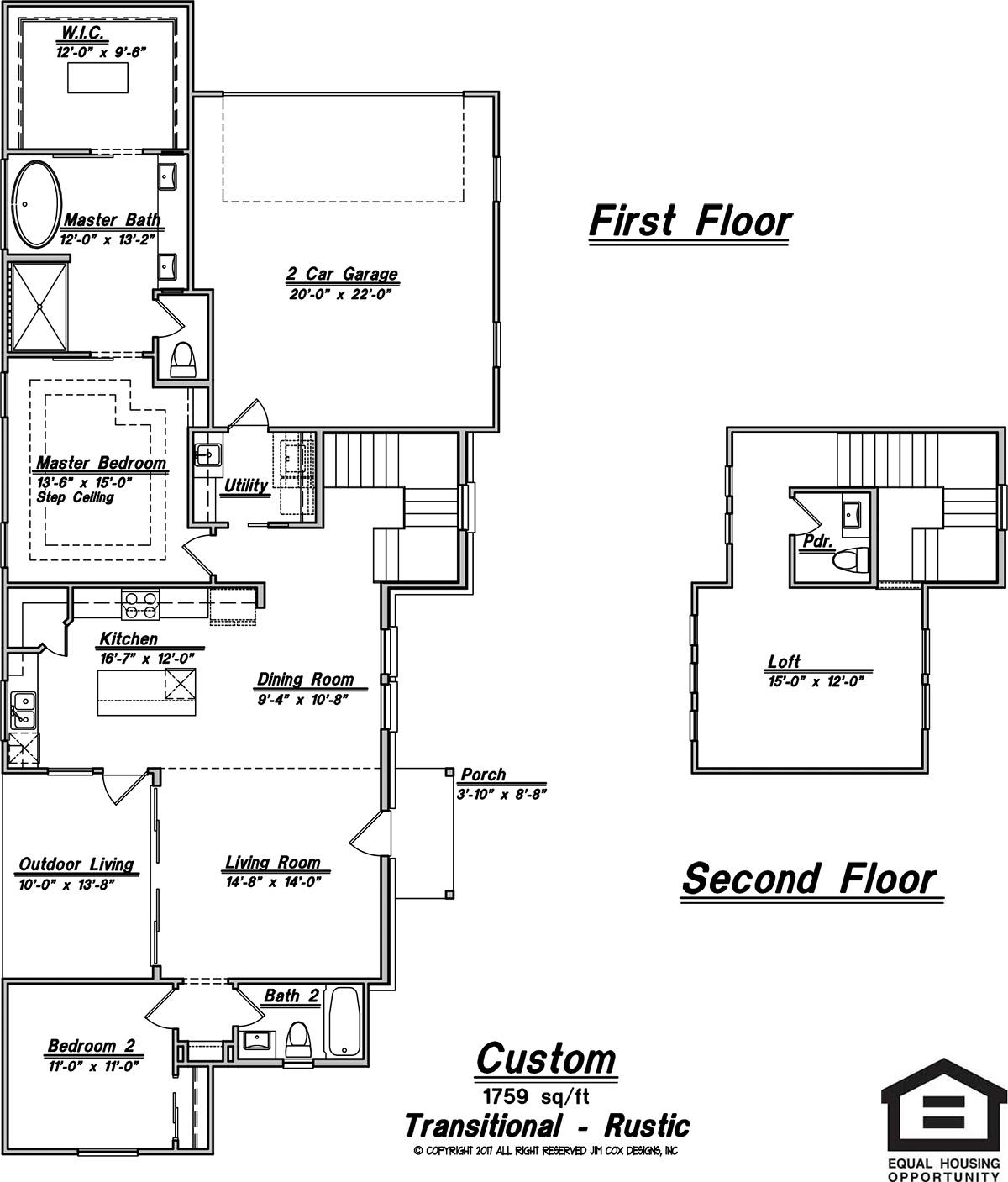 commercial plans jim cox designs comfortably compact the space in this home is utilized for maximum livability with two bedrooms and baths separated by the main living areas